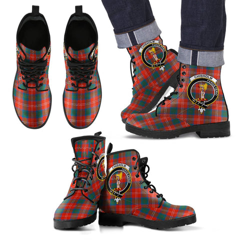 Leather Boots - Clan Chisholm Ancient Plaid Boots With Crest