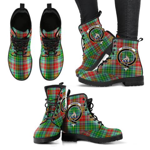 Leather Boots - Clan Muirhead Plaid Boots With Crest