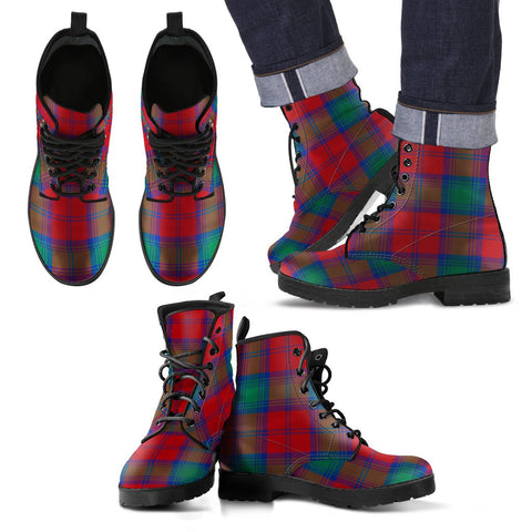 Leather Boots - Clan Lindsay Modern Plaid Boots