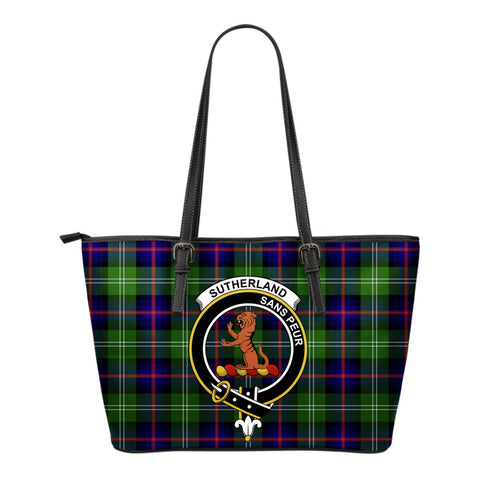 Sutherland II Tartan Clan Badge Leather Tote Bag (Small) | Over 300 Clans And 500 Tartans | Special Custom Design