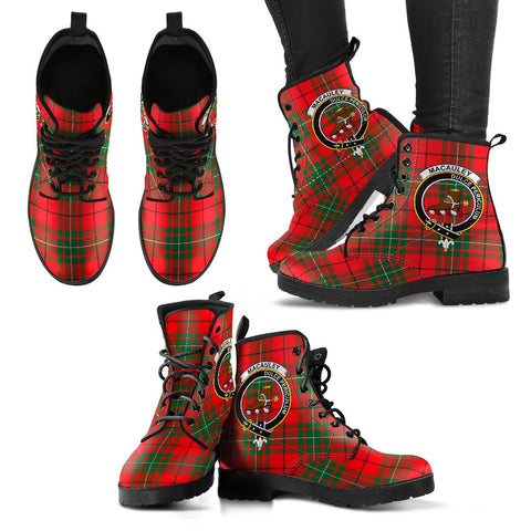 Leather Boots - Clan MacAulay Modern Plaid Boots With Crest