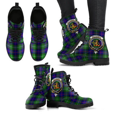 Leather Boots - Clan MacThomas Modern Plaid Boots With Crest