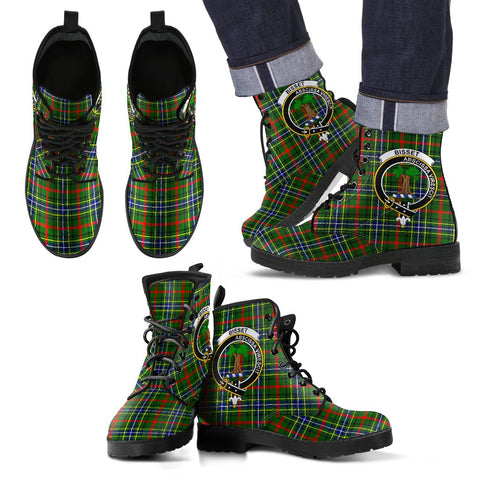 Leather Boots - Clan Bisset Plaid Boots With Crest