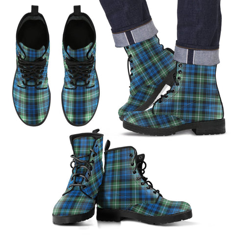 Leather Boots - Clan Lamont Ancient Plaid Boots
