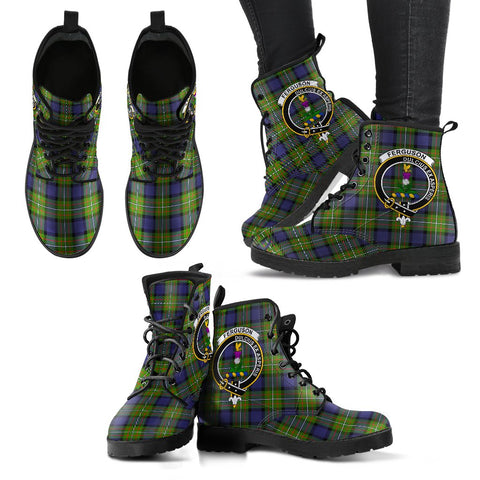 Leather Boots - Clan Fergusson Modern Plaid Boots With Crest
