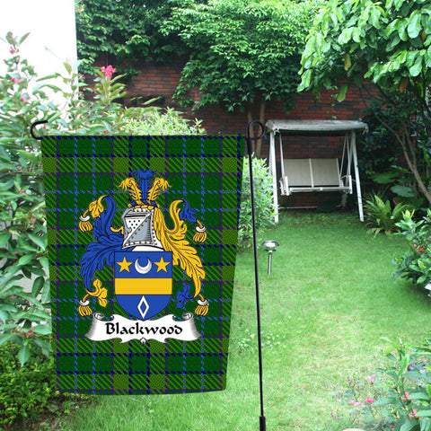Image of ScottishShop Garden Flag - Tartan Blackwood Flag  Clan Badge