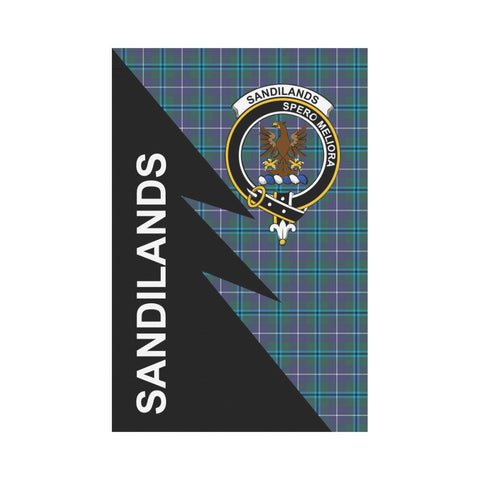 Garden Flag - Clan Sandilands Plaid & Crest Tartan Flag - 3 Sizes - Flash Style