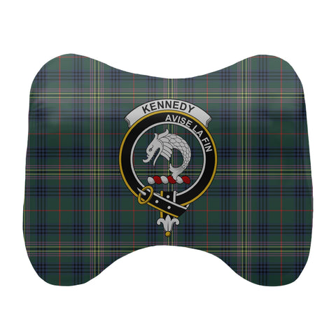 Tartan Head Cushion - Kennedy Head Cushion With Clan Crest