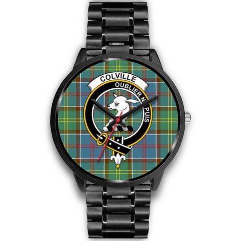Colville District Clans ,Black Metal Link watch, leather steel watch, tartan watch, tartan watches, clan watch, scotland watch, merry christmas, cyber Monday, halloween, black Friday