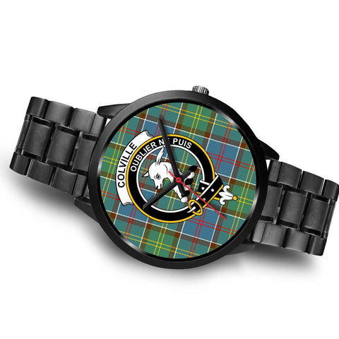 Colville District Clans ,Brown Leather watch, leather steel watch, tartan watch, tartan watches, clan watch, scotland watch, merry christmas, cyber Monday, halloween, black Friday