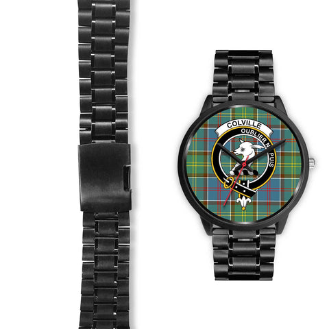 Colville District Clans ,Black Leather watch, leather steel watch, tartan watch, tartan watches, clan watch, scotland watch, merry christmas, cyber Monday, halloween, black Friday