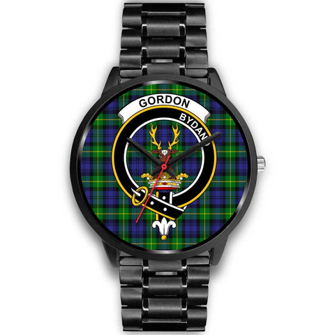 Gordon Modern Clans ,Black Metal Link watch, leather steel watch, tartan watch, tartan watches, clan watch, scotland watch, merry christmas, cyber Monday, halloween, black Friday