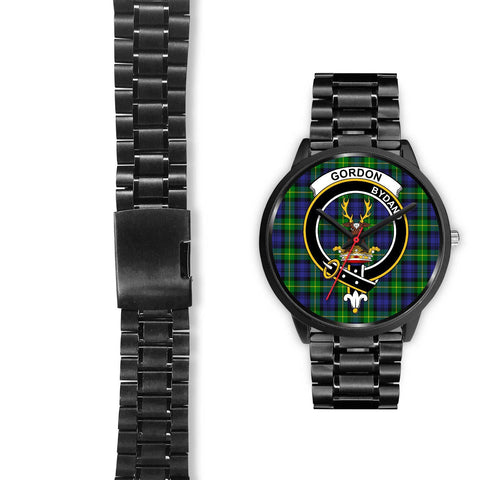 Gordon Modern Clans ,Black Leather watch, leather steel watch, tartan watch, tartan watches, clan watch, scotland watch, merry christmas, cyber Monday, halloween, black Friday