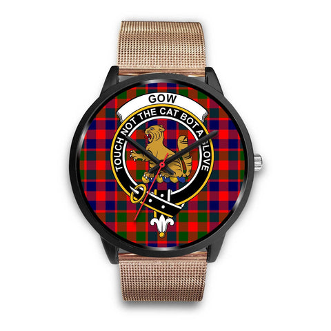 Gow of McGouan Clans ,Black Metal Link watch, leather steel watch, tartan watch, tartan watches, clan watch, scotland watch, merry christmas, cyber Monday, halloween, black Friday