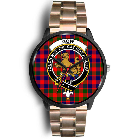 Gow of McGouan Clans ,Brown Leather watch, leather steel watch, tartan watch, tartan watches, clan watch, scotland watch, merry christmas, cyber Monday, halloween, black Friday