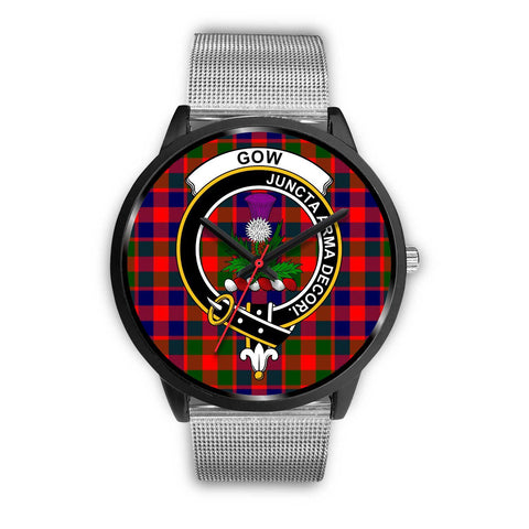 Gow of Skeoch Clans ,Silver Metal Link watch, leather steel watch, tartan watch, tartan watches, clan watch, scotland watch, merry christmas, cyber Monday, halloween, black Friday