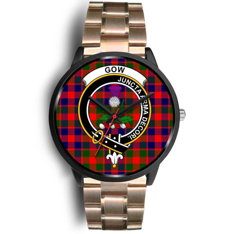 Gow of Skeoch Clans ,Rose Gold Metal Link watch, leather steel watch, tartan watch, tartan watches, clan watch, scotland watch, merry christmas, cyber Monday, halloween, black Friday