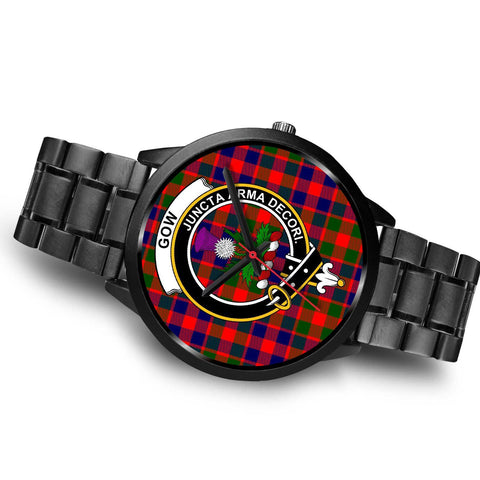Gow of Skeoch Clans ,Black Metal Link watch, leather steel watch, tartan watch, tartan watches, clan watch, scotland watch, merry christmas, cyber Monday, halloween, black Friday