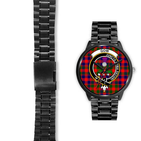 Gow of Skeoch Clans ,Brown Leather watch, leather steel watch, tartan watch, tartan watches, clan watch, scotland watch, merry christmas, cyber Monday, halloween, black Friday