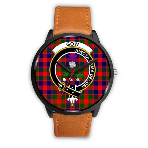 Gow of Skeoch Clans ,Black Leather watch, leather steel watch, tartan watch, tartan watches, clan watch, scotland watch, merry christmas, cyber Monday, halloween, black Friday