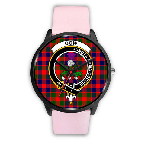 Gow of Skeoch Clans ,Black Metal Mesh watch, leather steel watch, tartan watch, tartan watches, clan watch, scotland watch, merry christmas, cyber Monday, halloween, black Friday
