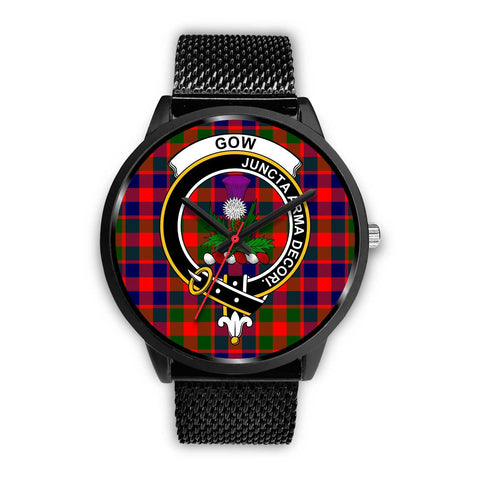 Gow of Skeoch Clans ,Silver Metal Mesh watch, leather steel watch, tartan watch, tartan watches, clan watch, scotland watch, merry christmas, cyber Monday, halloween, black Friday