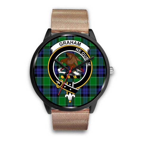 Image of Graham of Menteith Modern Clans ,Brown Leather watch, leather steel watch, tartan watch, tartan watches, clan watch, scotland watch, merry christmas, cyber Monday, halloween, black Friday