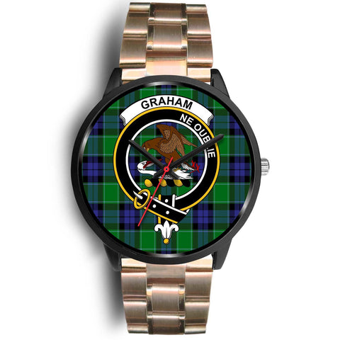 Image of Graham of Menteith Modern Clans ,Black Leather watch, leather steel watch, tartan watch, tartan watches, clan watch, scotland watch, merry christmas, cyber Monday, halloween, black Friday