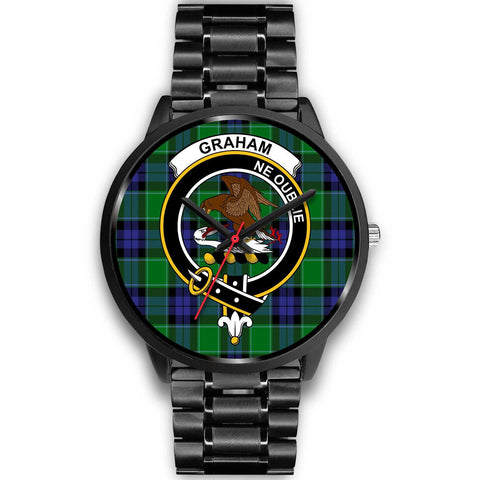 Graham of Menteith Modern Clans ,Black Metal Link watch, leather steel watch, tartan watch, tartan watches, clan watch, scotland watch, merry christmas, cyber Monday, halloween, black Friday