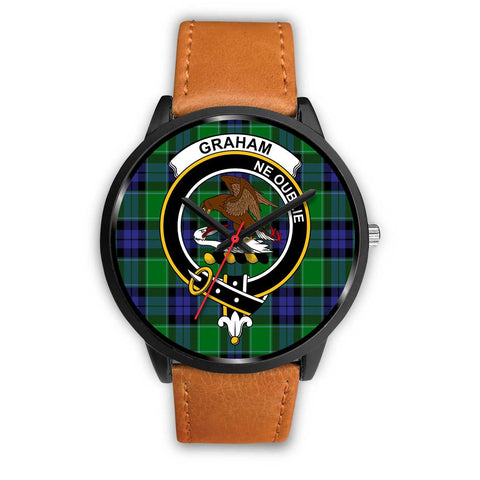 Image of Graham of Menteith Modern Clans ,Pink Leather watch, leather steel watch, tartan watch, tartan watches, clan watch, scotland watch, merry christmas, cyber Monday, halloween, black Friday