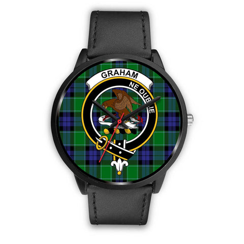 Image of Graham of Menteith Modern Clans ,Black Metal Mesh watch, leather steel watch, tartan watch, tartan watches, clan watch, scotland watch, merry christmas, cyber Monday, halloween, black Friday