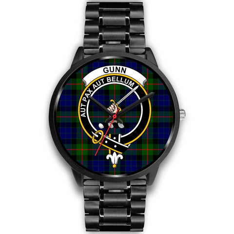 Gunn Modern Clans ,Black Metal Link watch, leather steel watch, tartan watch, tartan watches, clan watch, scotland watch, merry christmas, cyber Monday, halloween, black Friday