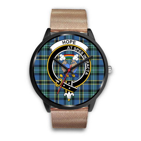 Image of Hope Clans ,Brown Leather watch, leather steel watch, tartan watch, tartan watches, clan watch, scotland watch, merry christmas, cyber Monday, halloween, black Friday