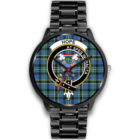 Image of Hope Clans ,Black Metal Link watch, leather steel watch, tartan watch, tartan watches, clan watch, scotland watch, merry christmas, cyber Monday, halloween, black Friday