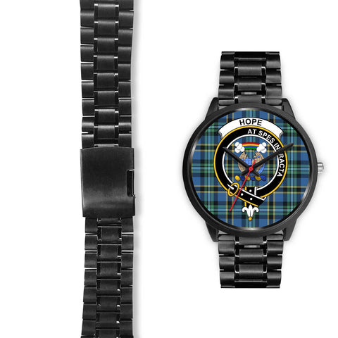 Image of Hope Clans ,Black Leather watch, leather steel watch, tartan watch, tartan watches, clan watch, scotland watch, merry christmas, cyber Monday, halloween, black Friday