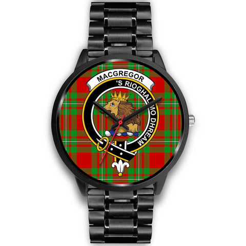 MacGregor Modern Clans ,Black Metal Link watch, leather steel watch, tartan watch, tartan watches, clan watch, scotland watch, merry christmas, cyber Monday, halloween, black Friday