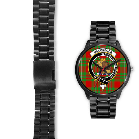 MacGregor Modern Clans ,Black Leather watch, leather steel watch, tartan watch, tartan watches, clan watch, scotland watch, merry christmas, cyber Monday, halloween, black Friday