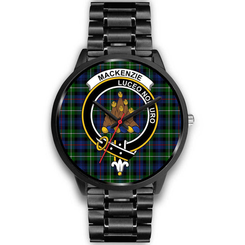 MacKenzie Modern Clans ,Black Metal Link watch, leather steel watch, tartan watch, tartan watches, clan watch, scotland watch, merry christmas, cyber Monday, halloween, black Friday