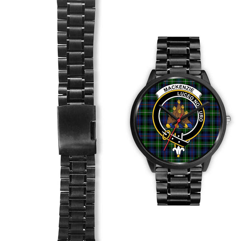 MacKenzie Modern Clans ,Black Leather watch, leather steel watch, tartan watch, tartan watches, clan watch, scotland watch, merry christmas, cyber Monday, halloween, black Friday