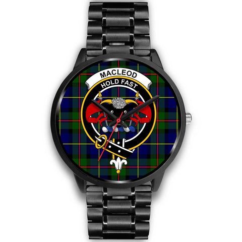 MacLeod Clans ,Black Metal Link watch, leather steel watch, tartan watch, tartan watches, clan watch, scotland watch, merry christmas, cyber Monday, halloween, black Friday