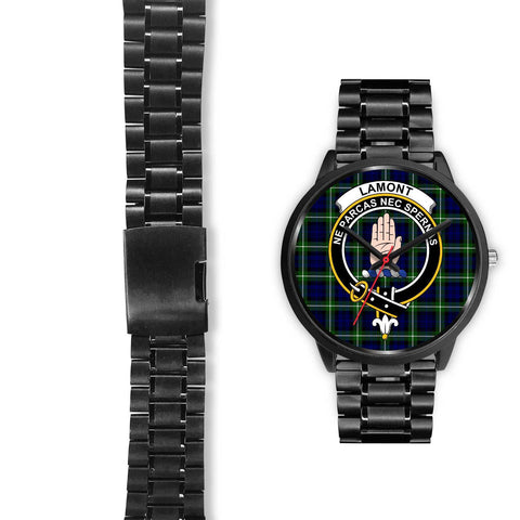 Lamont Modern Clans ,Black Leather watch, leather steel watch, tartan watch, tartan watches, clan watch, scotland watch, merry christmas, cyber Monday, halloween, black Friday