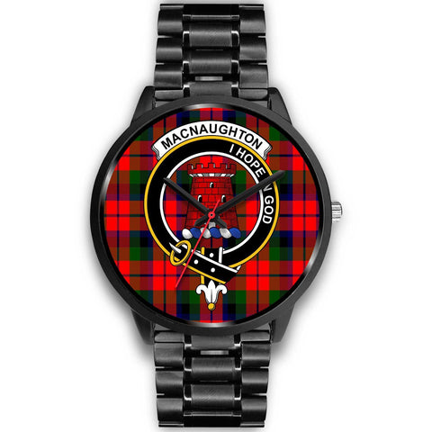 MacNaughton Modern Clans ,Black Metal Link watch, leather steel watch, tartan watch, tartan watches, clan watch, scotland watch, merry christmas, cyber Monday, halloween, black Friday