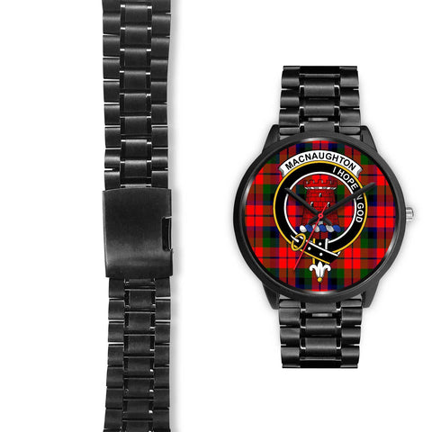 MacNaughton Modern Clans ,Black Leather watch, leather steel watch, tartan watch, tartan watches, clan watch, scotland watch, merry christmas, cyber Monday, halloween, black Friday