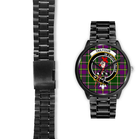 Taylor Clans ,Black Leather watch, leather steel watch, tartan watch, tartan watches, clan watch, scotland watch, merry christmas, cyber Monday, halloween, black Friday