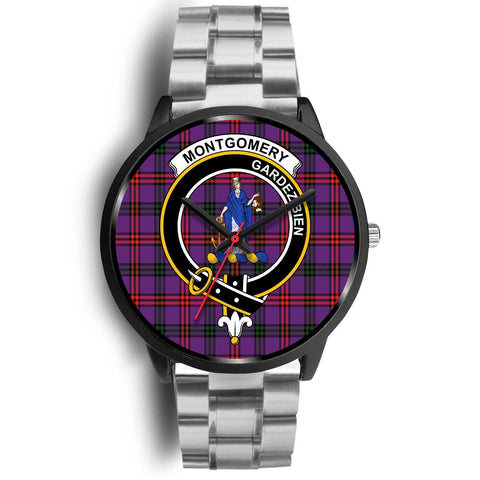 Montgomery Modern Clans ,Black Metal Link watch, leather steel watch, tartan watch, tartan watches, clan watch, scotland watch, merry christmas, cyber Monday, halloween, black Friday