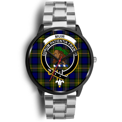 Muir Clans ,Black Metal Link watch, leather steel watch, tartan watch, tartan watches, clan watch, scotland watch, merry christmas, cyber Monday, halloween, black Friday