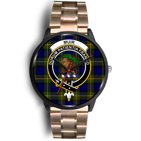 Muir Clans ,Black Leather watch, leather steel watch, tartan watch, tartan watches, clan watch, scotland watch, merry christmas, cyber Monday, halloween, black Friday