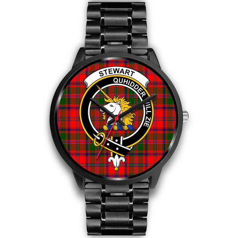 Stewart of Appin Clans ,Black Metal Link watch, leather steel watch, tartan watch, tartan watches, clan watch, scotland watch, merry christmas, cyber Monday, halloween, black Friday