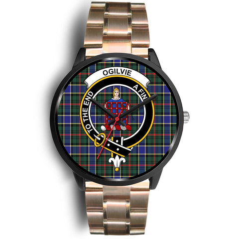 Ogilvie Hunting Modern Clans ,Black Leather watch, leather steel watch, tartan watch, tartan watches, clan watch, scotland watch, merry christmas, cyber Monday, halloween, black Friday