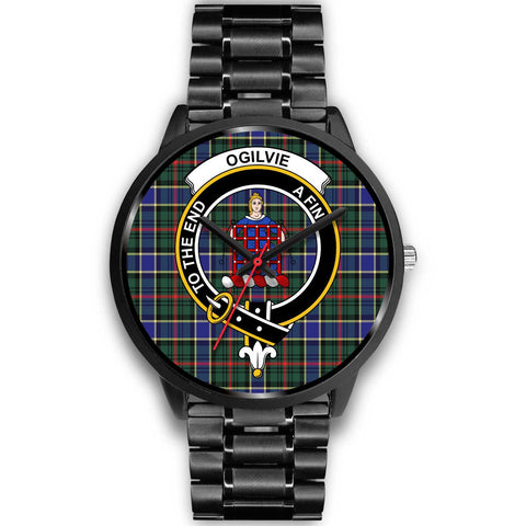 Ogilvie Hunting Modern Clans ,Black Metal Link watch, leather steel watch, tartan watch, tartan watches, clan watch, scotland watch, merry christmas, cyber Monday, halloween, black Friday